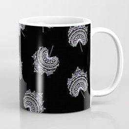 Ultra-Violet and Black Maple Leaf Pattern Coffee Mug