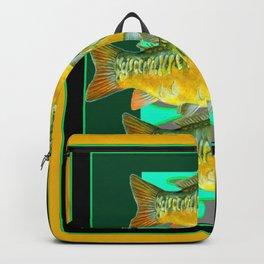 MODERN ART GREEN & OCHER DECORATIVE THREE FISH Backpack