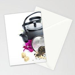 Asian tea set on  white background Stationery Cards