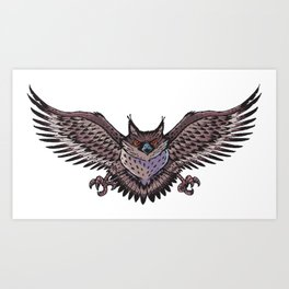 Owl with wings spread Art Print