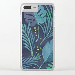 Dark Sensual Tropical Monstera Leaf Pattern Teal Navy Blue Clear iPhone Case