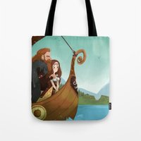 vikings Tote Bags featuring Vikings by Supergna