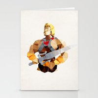 he man Stationery Cards featuring Polygon Heroes - He-Man by PolygonHeroes