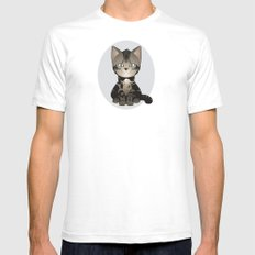 Tabby Kitten White SMALL Mens Fitted Tee