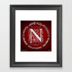 Joshua 24:15 - (Silver on Red) Monogram N Framed Art Print