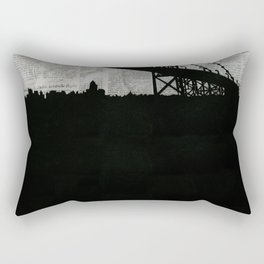 Paper City, Newspaper Bridge Collage, night silhouette cityscape news paper cutout, black and white Rectangular Pillow