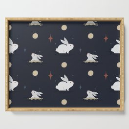 Bunnies on the Moon (Patterns Please) Serving Tray