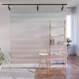 Touching Blush Gray Watercolor Abstract Stripe #1 #painting #decor #art #society6 Wall Mural