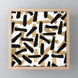 Modern abstract black gold watercolor brushstrokes Framed Mini Art Print