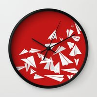 planes Wall Clocks featuring Paper Planes by Becky Gibson