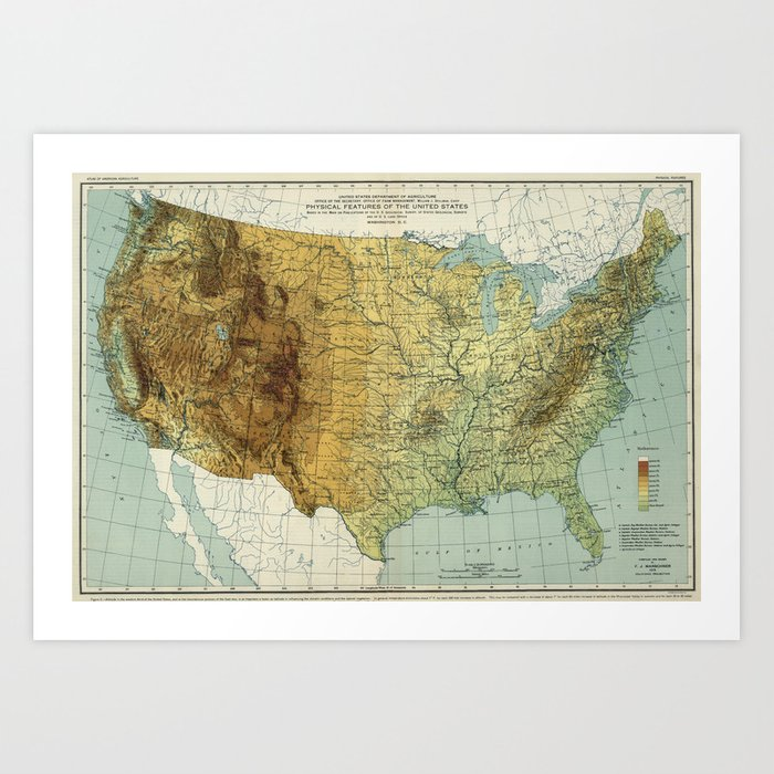 Vintage United States Physical Features Map (1915) Art Print by bravuramedia