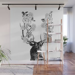 The Stag and Roses | Black and White Wall Mural