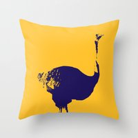 ostrich Throw Pillows featuring Ostrich by Auberginette