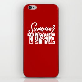 Summer TIME Nautical Solid Red, Seagull, Lounge Chair, Lighthouse, Anchor, Rope, Compass, Sail Boat iPhone Skin