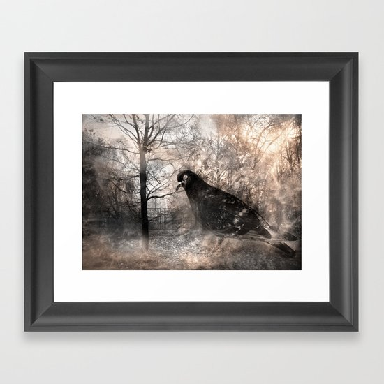 Black bird and the foggy path Framed Art Print