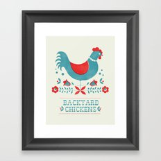 Backyard Chickens in red Framed Art Print