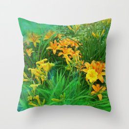 Day-glo Lilies Throw Pillow