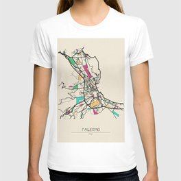 Colorful City Maps: Palermo, Italy T-shirt