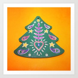 Folk Christmas Tree Art Print