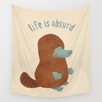 beaver Wall Tapestries featuring Platypi Don't Lie by MidnightCoffee