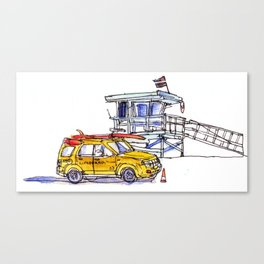 Yellow Lifeguard Truck Canvas Print