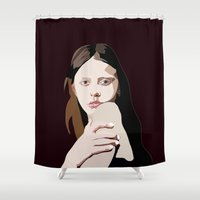pastel goth Shower Curtains featuring Mia Goth by Anna McKay