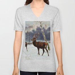 Deer And Doe In A Snowy Landscape - Digital Remastered Edition Unisex V-Neck