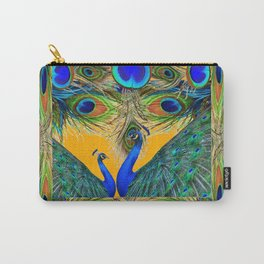 BLUE PEACOCKS  GOLDEN FEATHER DESIGN PATTERNS GN Carry-All Pouch