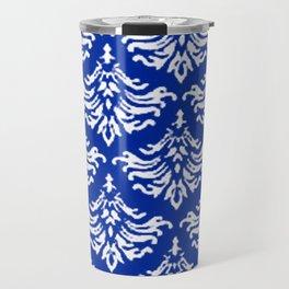 Vintage Damask Brocade Sapphire Blue Travel Mug