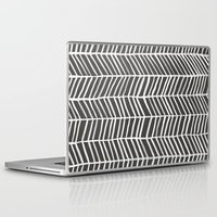 herringbone Laptop & iPad Skins featuring Herringbone – Black & White by Cat Coquillette