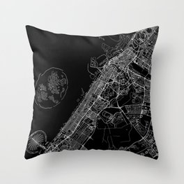 Dubai Black Map Throw Pillow