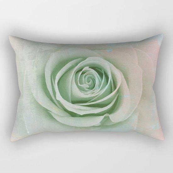 Elegant Painterly Mint Green Rose Abstract Rectangular Pillow
