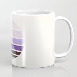 Purple Mid Century Modern Minimalist Circle Round Photo Staggered Sunset Geometric Stripe Design Coffee Mug