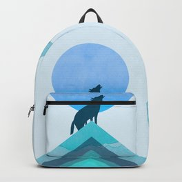 Abstraction_BLUE MOON_WOLF_FOREST_Minimalism_001 Backpack