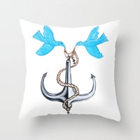 sam smith Throw Pillows featuring Sam Anchor of Love by Annette Jimerson