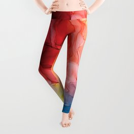 Rainbow Good Vibes Abstract Painting Leggings