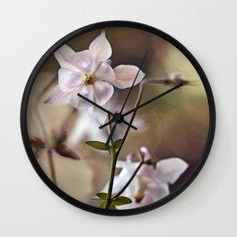 White columbine flowers Wall Clock