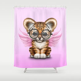 Tiger Cub with Fairy Wings Wearing Glasses on Pink Shower Curtain