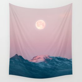 Moon and the Mountains – Landscape Photography Wall Tapestry