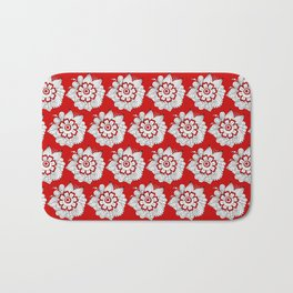 Background abstract red doodle-flowers, pattern, vector, texture design. Bath Mat