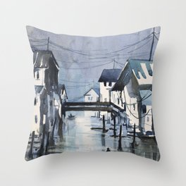 Imagined waterfront painting of Asian city- watercolor painting Throw Pillow