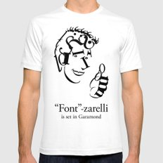 'Font'-zarelli Mens Fitted Tee SMALL White