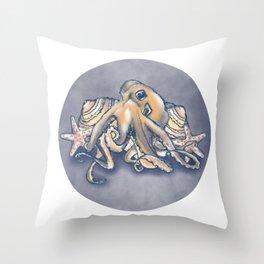 Ocean Octopus shell garden Throw Pillow