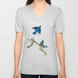 Blue Bird Vintage Illustration Unisex V-Neck