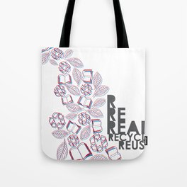 read, recycle, reuse Tote Bag