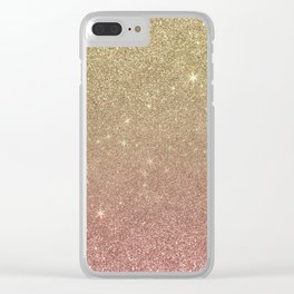 Rose Gold and Yellow Gold Glitter Mesh Clear iPhone Case