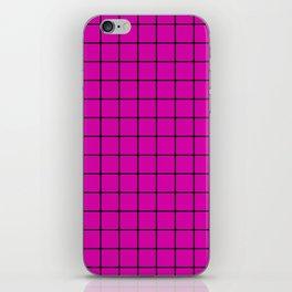 Magenta with Black Grid iPhone Skin