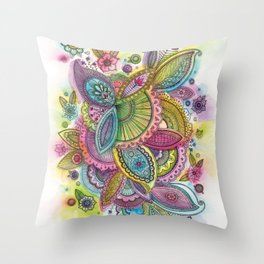 Fairground Paisley Throw Pillow