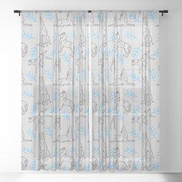 Siberian Husky Pattern (Light Gray) Sheer Curtain