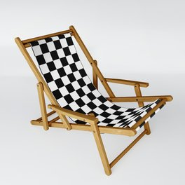 Black Checkerboard Pattern Sling Chair